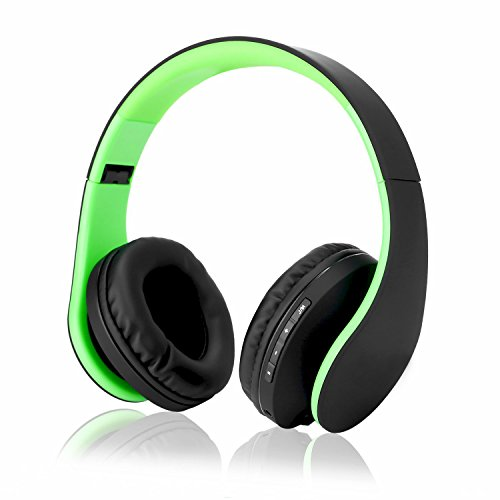 Emopeak Wireless Stereo Headsets Bluetooth Over Ear, Headphones (Green), Hi-Fi Stereo Headset,Soft Memory-Protein Earmuffs, Foldable, Built-in Microphone & Wired Mode for PC Cell Phones TV For Sale