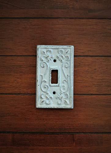 - Single Light Switch Cover | Switchplate Cast Iron | Fleur de Lis Design | Handpainted to Order Aqua Blue or Pick Color