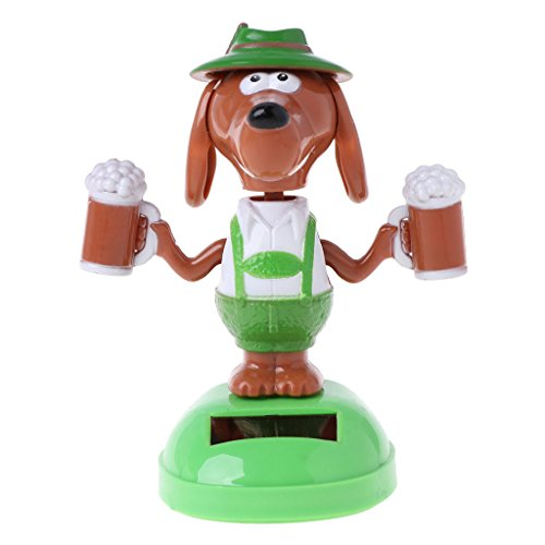 LANDUM Solar Powered Dancing Bobble Head Beer Dog Educational Toy Car Ornament Toy Kids