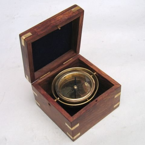手作りGimbaled真鍮コンパスin木製ボックス高品質by ITDC B017UR2TYK