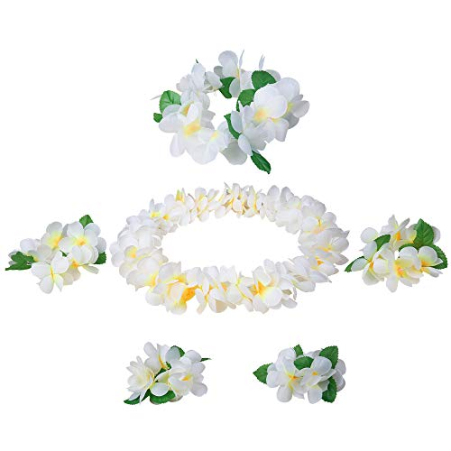 Udalyn Hawaiian Luau Flower Leis Jumbo Necklaces Bracelets Headband Anklets Set 6-7 Pack]()
