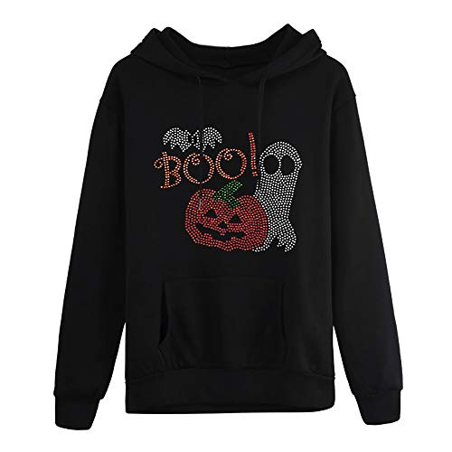 Halloween Womens Sweatshirt Plus Size KIKOY Long Sleeve Pocket Hooded Neck Blouse Tops