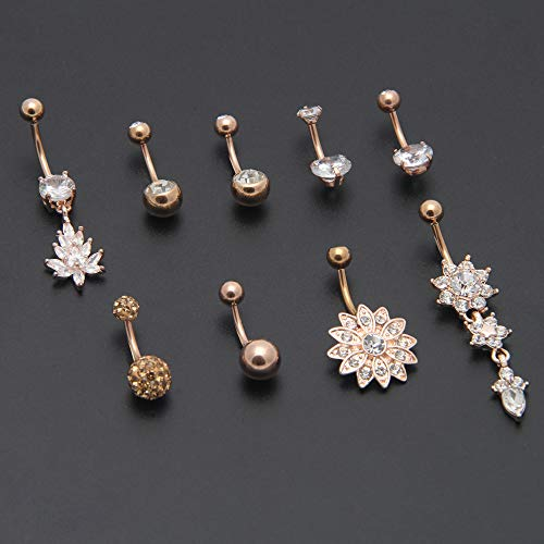 Crazypiercing 9 Pcs 14g Belly Button Rings Stainless Steel Dangle