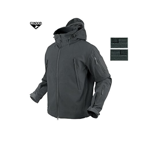 Condor 602 Summit Soft Shell Jacket, Graphite + 2 FREE Grey/Black Velcro Flag Patches (XX-Large) Condor Wash