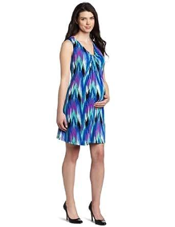 Three Seasons Maternity Women's Sleeveless Print Drape Front Dress, Blue Print, X-Large