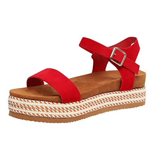 (BEAUTYVAN Women's Platform Sandals Espadrille Wedge Ankle Strap Studded Peep Toe Sandals Red)