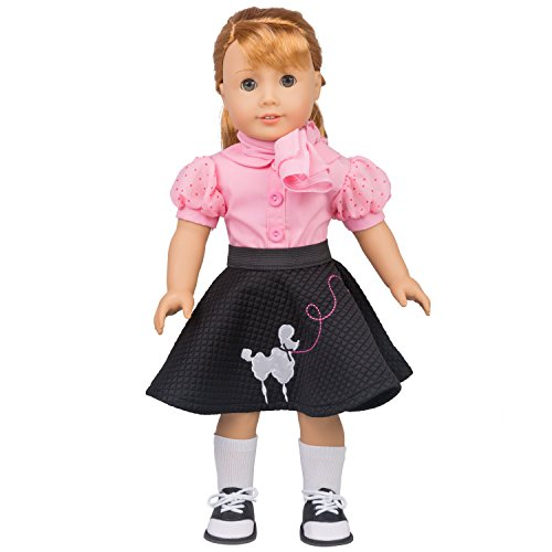 Dress Along Dolly Poodle Skirt Outfit for American Girl Dolls (5pcs: Includes scarf, shirt, skirt, socks, saddle shoes)