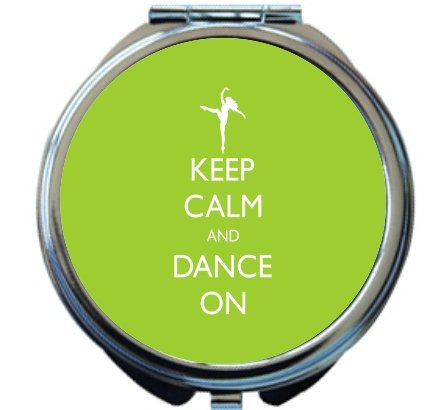 Rikki Knight Keep Calm and Dance On Lime Green Color Design Round Compact Mirror by Rikki Knight
