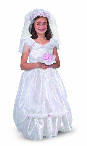 Melissa & Doug Bride Role Play Costume Set (3 pcs) - Gown, Veil, Bouquet