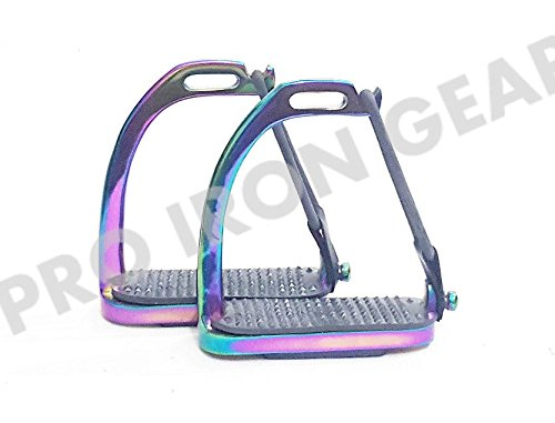 Rainbow Multi Color Peacock Stirrups Horse Equestrian Safety Iron FILLIS Stirrups (4.75 inch)