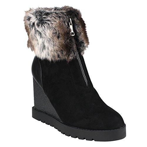 BESTON EJ00 Women's Front Zipper Wedge Heel Lug Sole Snow Ankle Booties, Color Black, Size:11