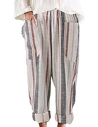 Sevozimda Womens Linen Pants Straight Leg Plus Size Stripes Loose Harem Trousers