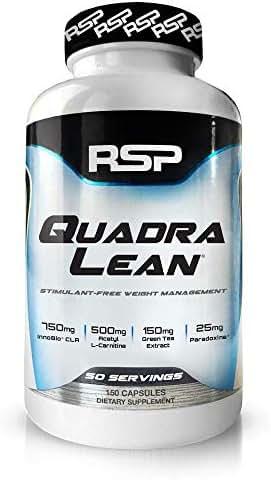 RSP QuadraLean Stimulant Free Fat Burner Pills, Weight Loss Supplement, Appetite Suppressant & Metabolism Booster, Diet Pill for Men & Women, 50 Servings, 150 Count