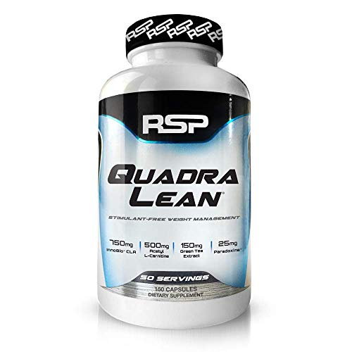 RSP QuadraLean Stimulant Free Fat Burner Pills, Weight Loss Supplement, Appetite Suppressant & Metabolism Booster, Diet Pill for Men & Women, 50 Servings, 150 Count