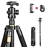 XHHWZB Phone Tripod, Portable and Adjustable Camera Stand Holder with Bluetooth Remote and Universal Clip for iPhone, Android Phone, Camera, Sports Camera