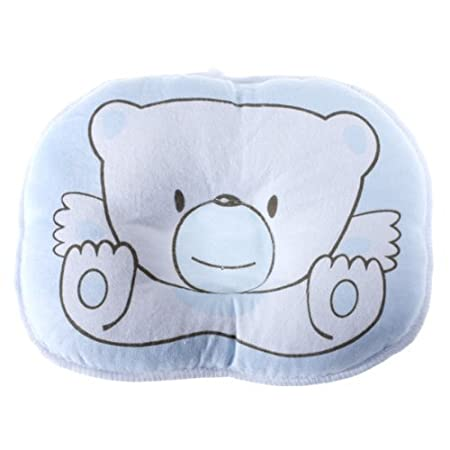 Cute Bear Cotton Newborn Baby Prevent Flat Head Pillow Support blue BabyCentre KKTPY0791