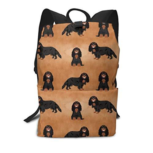 Backpack cavalier king charles spaniel watercolor texture black and tan dog breeds brown Laptop Backpack Student School Bookbag Casual Durable Rucksack Travel Daypack