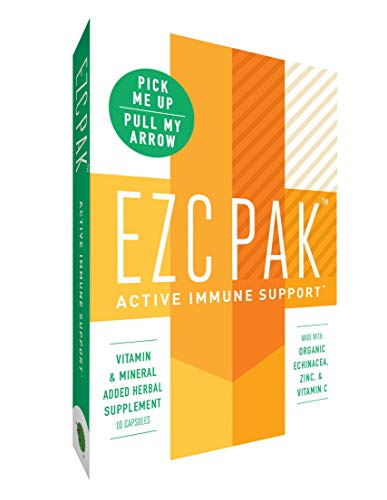 EZC Active Pak Immune System Booster (Single Pack) – Echinacea, Zinc, and Vitamin C, Gluten-Free Vegetarian On-The-Go Immune Support Pack