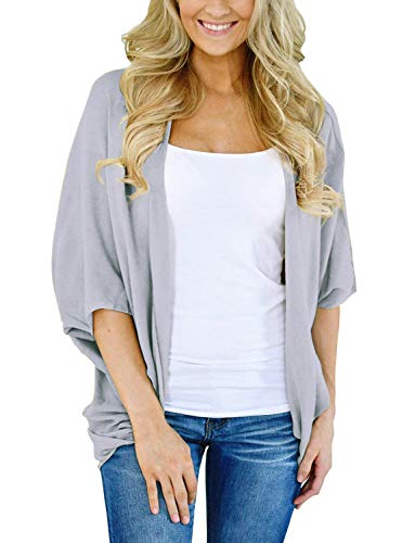 BB&KK Knit Cardigan Sweaters for Women Solid Colors Half Sleeve Open Front Cover Ups X-Large Gray