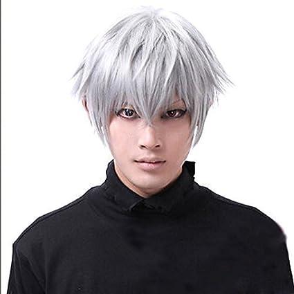 Fiesta de Halloween asien Tokio necrófagos Ken Kaneki peluca corta para hombre pelucas