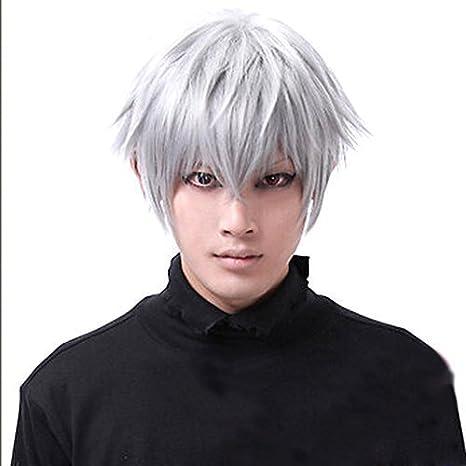 Fiesta de Halloween asien Tokio necrófagos Ken Kaneki peluca corta para hombre pelucas: Amazon.es: Belleza