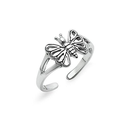 Sterling Silver Butterfly Toe Ring Jewelry For Women