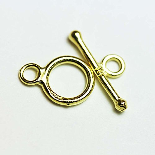 2sets Gold Vermeil on 925 sterling silver Jewellery finding Toggle Clasp, 9mm ()