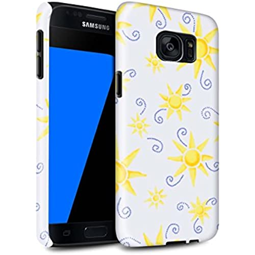 STUFF4 Gloss Tough Shock Proof Phone Case for Samsung Galaxy S7/G930 / Yellow/White Design / Sun/Sunshine Pattern Collection Sales