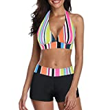Zando Women's Bikini Swimsuit for Women 2 Piece Bathing Suits Push Up Bikini Top with Swim Shorts Athletic Boyshort Bikini Set Swimwear Bikinis Rainbow Stripe 6-8
