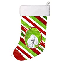 "Caroline's Treasures White Toy Poodle Candy Cane Christmas Stocking, 11 x 18"", Mulitcolor"