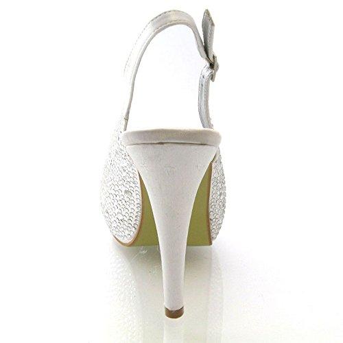 Onlineshoe Señoras Mujeres Peep Toe Zapatos de novia de la boda - lazo de satén - Satén Marfil Satén blanco