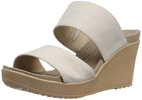 crocs Women's Leigh Ii 2-Strap W Wedge Sandal, Oatmeal, 5 M - Buckle Croc