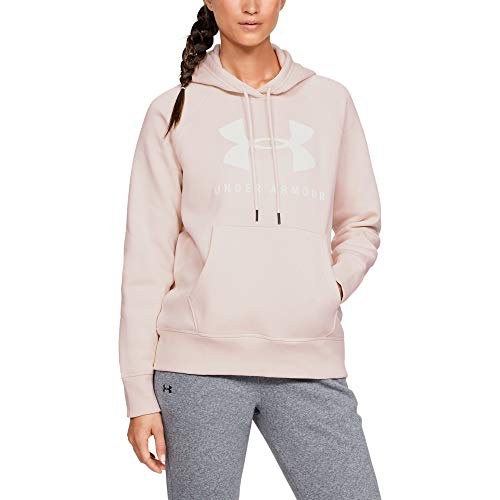 - Under Armour Rival Fleece Sportstyle Graphic Hoodie, Apex Pink (675)/Onyx White, XX-Large