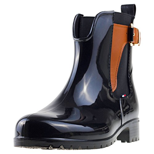 Tommy Hilfiger Oxley 2z2 Womens Wellington Boots Black Tan - 42 EU by Tommy Hilfiger