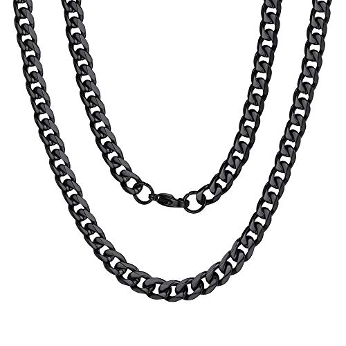 (Stainless Steel Cuban Curb Link Chain Necklace for Men Black)
