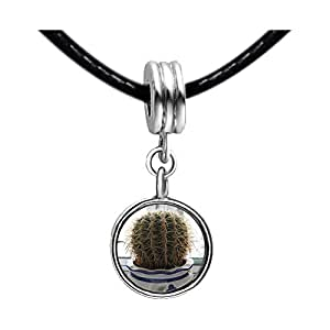 Chicforest Silver Plated Cute Cactus Photo Sapphire Crystal September Birthstone Flower dangle Charm Beads Fit Pandora Chamilia Biagi Charm Bracelet