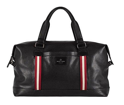 """WIND & VIBES MANHATTAN """"BORDEAUX"""" - Weekender Reisetasche aus Echtleder (Handgepäckmaße). Handgefertigte Design Tasche aus schwarzem Nappa Leder."""