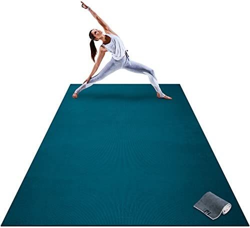 Premium Extra Large Yoga Mat – 9 x 6 x 8mm Extra Thick Comfortable, Non-Toxic, Non-Slip, Barefoot Exercise Mat – Yoga, Stretching, Cardio Workout Mats for Home Gym Flooring 108 Long x 72 Wide