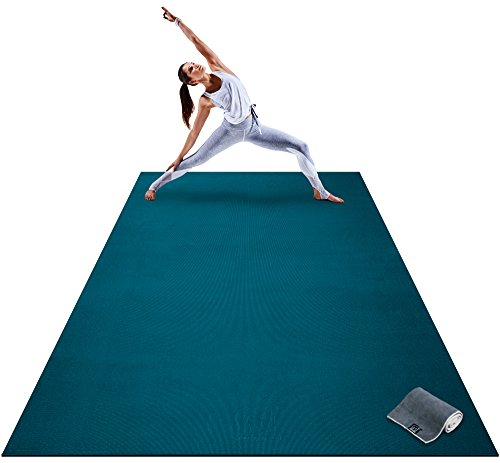 Premium Extra Large Yoga Mat - 9' x 6' x 8mm Extra Thick & Comfortable Non-Toxic Non-Slip Barefoot Exercise Mat - Yoga Stretching Cardio Workout Mats for Home Gym Flooring (108
