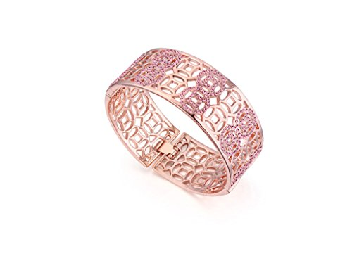 Party Queen Rose Gold Plated Crystal Openwork Women Wide Bracelet Pink