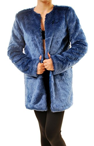 For Love & Lemons Women's Wanderlust Faux Fur Coat Blue Size L by For Love & Lemons