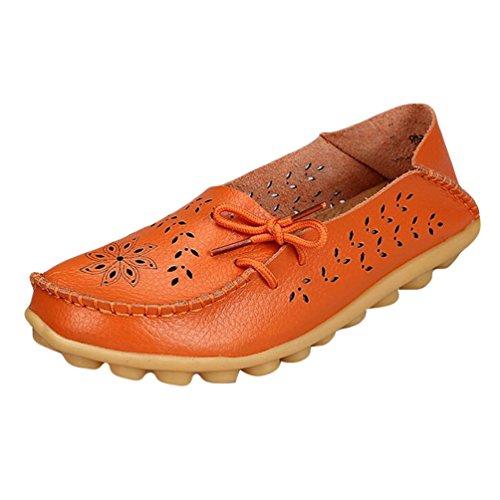Heheja Mujer Hueco Ocio Piso Zapatos Mocasines de Cuero Loafers con Bowknot Naranja