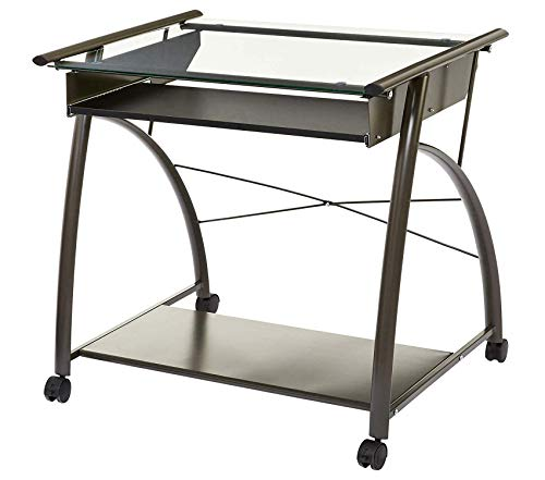 (Phоеnix Hоmе Rolling Computer Table with Glass Top and Keyboard Tray, Graphite Grey)