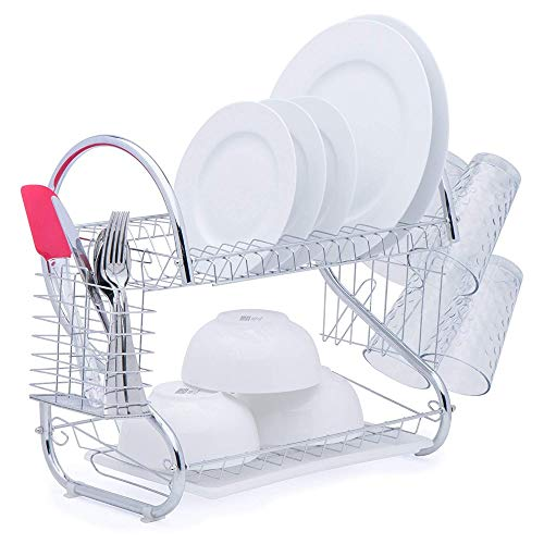 LMSOD Dish Drying Rack, 2 Tiers Kitchen Dish Rack With Utensil Holder,Kitchen Double Tiers Stainless Steel Dish Drainer,Plated Chrome Dish Dryer ()