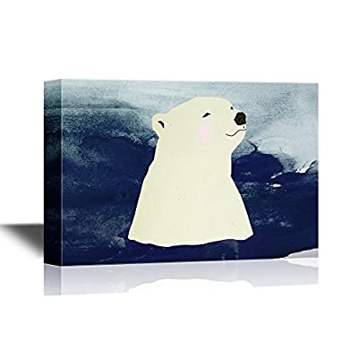 Hand Drawing Style Animal Canvas Wall Art - Polar Bear Swimming in The Sea - Gallery Wrap Modern Home Art | Ready to Hang - 12x18 inches