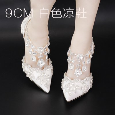 Diamond White 9Cm Sandal Wedding Heeled Shoes Strap Shoes Red VIVIOO Hollow Crystal Bride Prom 5 Sandals Shoes High Fringed Crystal Summer A Buckle Strap Heel PxHw4vUqw1