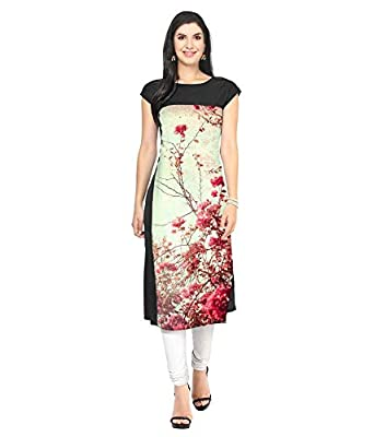 NIVA ENTERPRISE Women s Crepe Stitched Kurta (Black   Off-White) Size  ... 9fe070ae38