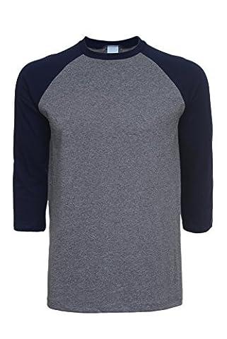 Pacific Mens Raglan 3/4 Sleeve Baseball T-Shirt (Medium, Heather-Grey) - Short Raglan Sleeve