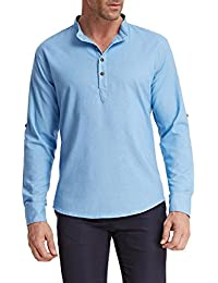 Men's Stylish Henley Neck Roll-up Long Sleeve Casual Linen Shirts