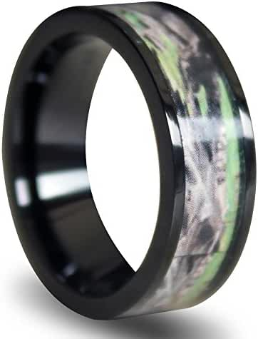 BIG SALE!!! 7mm Light Weight Titanium Camouflage Camo Bands Men's Women's Wedding Anniversary Bands Spring Fashion Rings (Black edge)